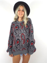 Load image into Gallery viewer, Vintage 80s Red and Black Paisley Print Sweater Size Small Medium