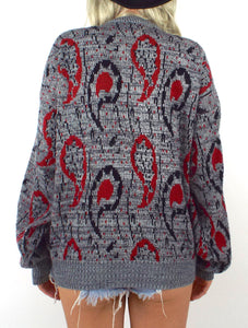 Vintage 80s Red and Black Paisley Print Sweater Size Small Medium