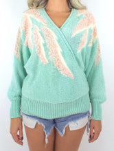 Load image into Gallery viewer, Vintage 80s Mint Green and Pink Batwing Sweater