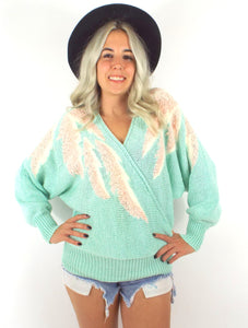 Vintage 80s Mint Green and Pink Batwing Sweater