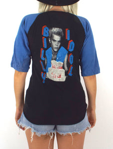 Vintage 80s Black and Blue Billy Idol White Wedding Baseball Tee Size Small