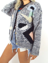 Load image into Gallery viewer, Vintage Chunky Knit Geometric Print Cardigan Size Medium