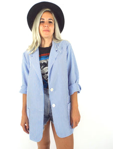 Vintage 80s Long White and Baby Blue Seersucker Blazer