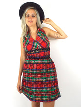 Load image into Gallery viewer, Jingle Belle Vintage 60s Plaid Print Quilted Halter Mini Holiday Party Dress