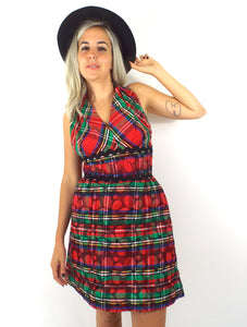 Jingle Belle Vintage 60s Plaid Print Quilted Halter Mini Holiday Party Dress