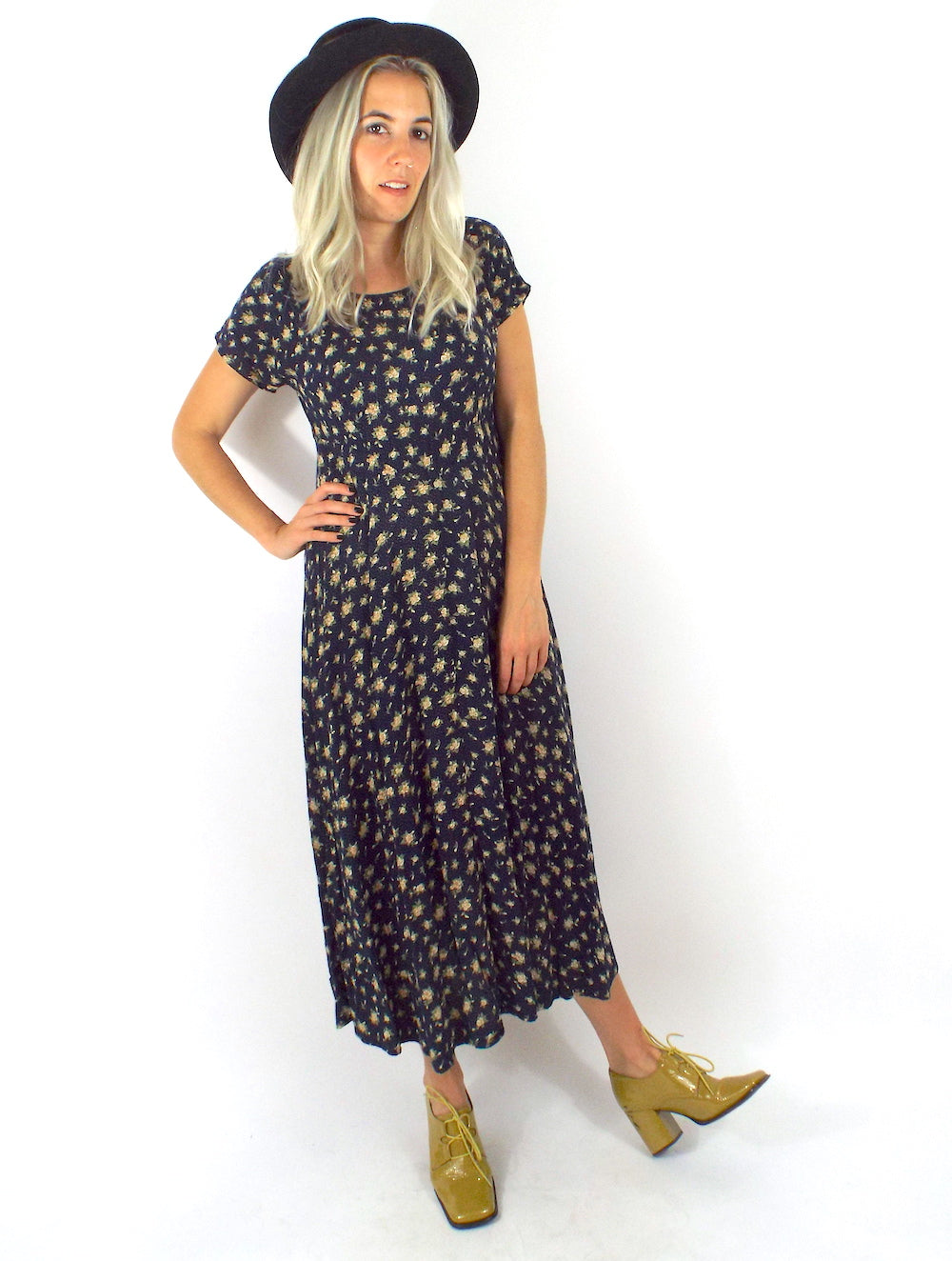 Vintage 90s Yellow Cabbage Rose Floral Print Babydoll Maxi Dress