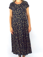 Load image into Gallery viewer, Vintage 90s Yellow Cabbage Rose Floral Print Babydoll Maxi Dress
