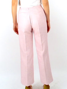 Vintage 70s High-Waist Pink Textured Trousers -- Size 26