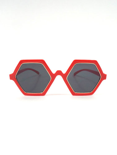 Hex Oversized Gold Detail Hexagonal Sunglasses Retro Mod
