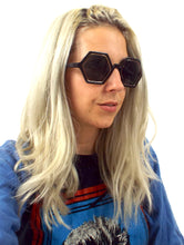 Load image into Gallery viewer, Hex Oversized Gold Detail Hexagonal Sunglasses Retro Mod