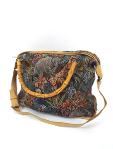 Vintage Large Tapestry Style Safari Wild Animal Print Overnight Bag
