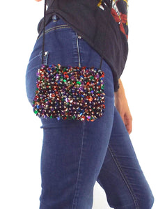 Party Girl Vintage Beaded and Sequined Crossbody Mini Purse