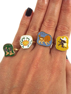 Vintage 70s Gold Tone Adjustable Zodiac Sign Rings - Gemini, Cancer, Leo, Virgo
