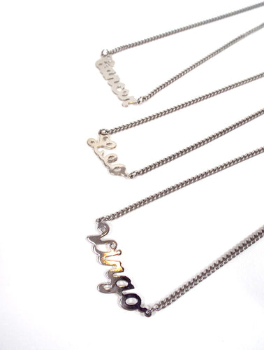 Silver Tone Cursive Zodiac Nameplate Necklace - Cancer, Leo, Virgo