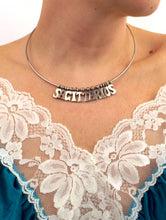 Load image into Gallery viewer, Vintage 70s Retro Letter Silver Tone Sagittarius Choker