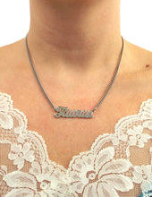 Load image into Gallery viewer, Silver Tone Cursive Zodiac Nameplate Necklace - Taurus