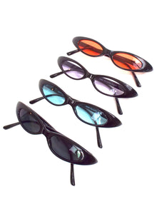 90s Baby Skinny Oval Shaped Sunglasses