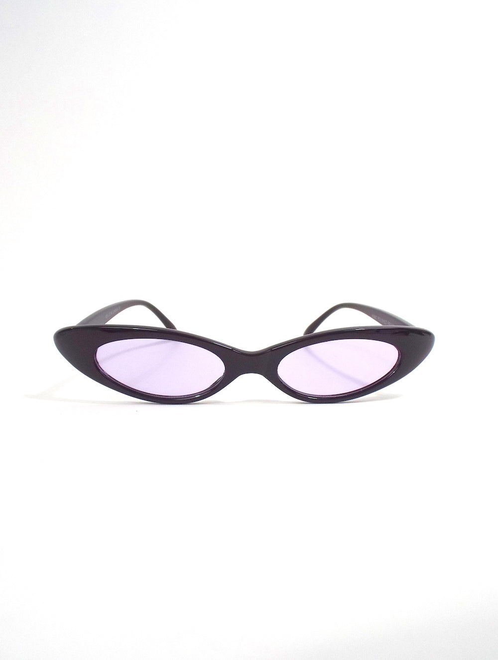 90s Baby Skinny Oval Shaped Sunglasses Purple