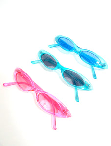 90s Baby Skinny Translucent Oval Shaped Sunglasses