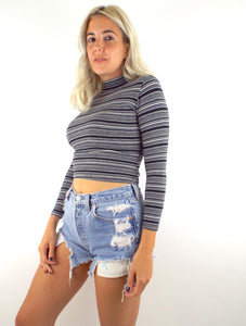 Vintage 90s Cropped Striped Turtleneck Tee Small