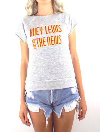 Vintage 80s Huey Lewis and the News Grey Sleeveless Sweatshirt - Size Small