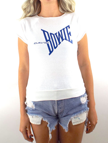Vintage 80s Blue and White David Bowie Sleeveless Sweatshirt - Size Extra Small