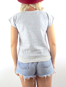 Vintage 80s Duran Duran Grey Sleeveless Sweatshirt Size Small