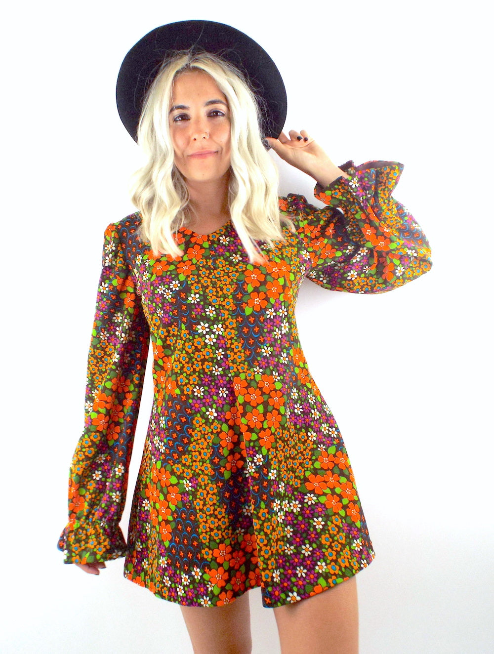 Flower Power Vintage 70s Floral Print Mini Dress