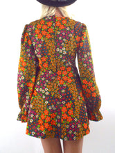Load image into Gallery viewer, Flower Power Vintage 70s Floral Print Mini Dress