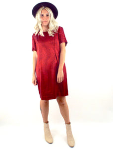 Vintage 90s Shimmery Red Snake Print Shift Dress