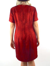 Load image into Gallery viewer, Vintage 90s Shimmery Red Snake Print Shift Dress