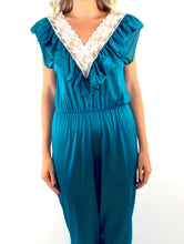 Load image into Gallery viewer, Vintage Jewel Tone Silky Lace Jumpsuit