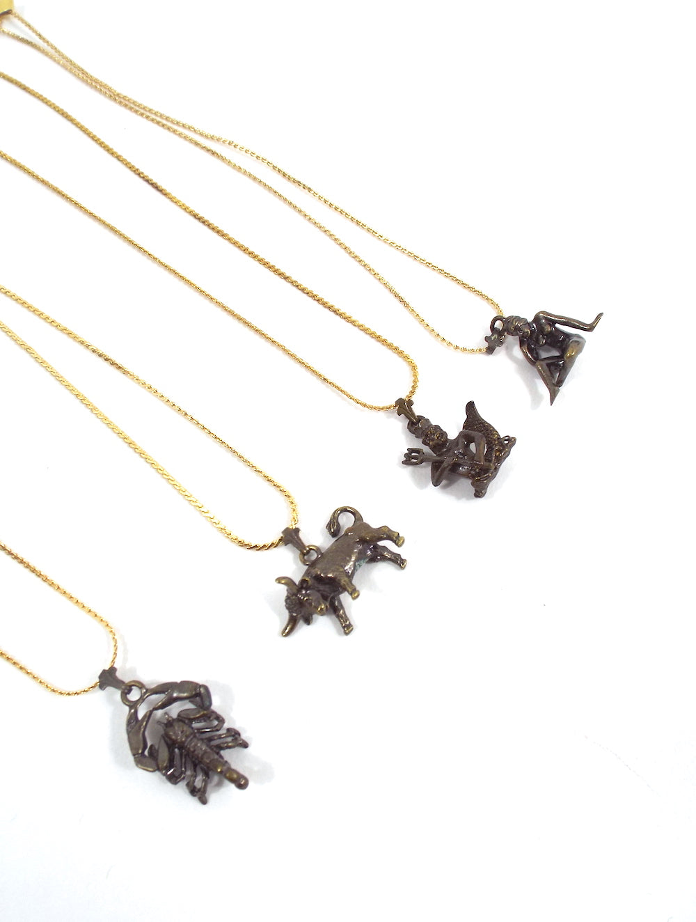 Vintage 70s Faux Gold and Bronze Zodiac Charm Necklace - Scorpio, Taurus, Aquarius, Virgo