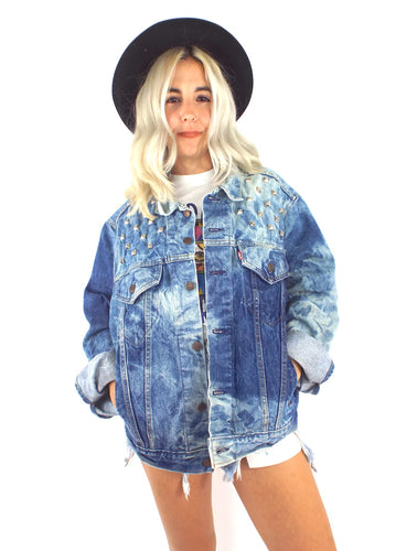 Studded and Bleached Vintage Levi's Oversized Denim Jacket