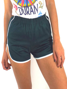 Copy of Vintage 70s High-Waisted Dark Green and White Gym Shorts -- Size Extra Small/Small