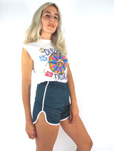Load image into Gallery viewer, Copy of Vintage 70s High-Waisted Dark Green and White Gym Shorts -- Size Extra Small/Small