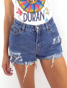 Vintage 90s Distressed High-Waist Levi's Cut-Off Shorts -- Size 28