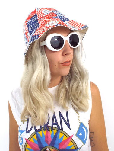 Vintage 70s Red White and Blue Bandana Patchwork Print Floppy Bucket Hat