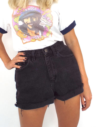 Vintage 90s Black Denim High-Waist Cut-Off Shorts -- Size 29