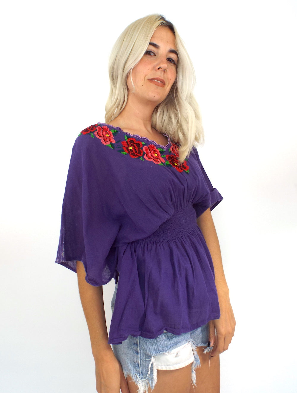 Vintage Purple Embroidered Peasant Top