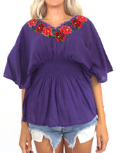 Load image into Gallery viewer, Vintage Purple Embroidered Peasant Top