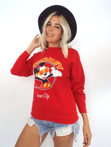 Vintage 80s Mickey Mouse Red Kansas City Tourist Sweatshirt