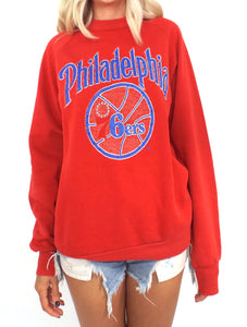 Vintage 80s Philadelphia 76ers Distressed and Faded Sweatshirt