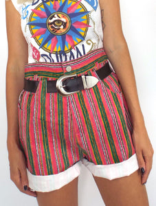 Vintage Colorful Striped High-Waist Roll Cuff Shorts -- Size 29/30
