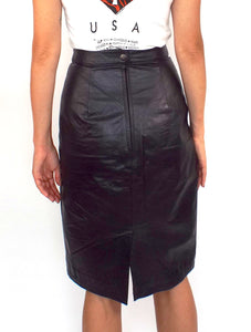 Vintage High Waisted Black Leather Pencil Skirt -- Size 26