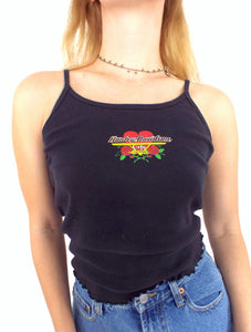 Vintage 90s Heart and Rose Design Harley-Davidson Spaghetti Strap Tank