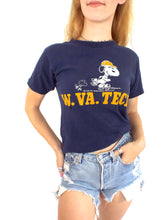 Load image into Gallery viewer, Vintage 70s Destroyed Snoopy West Virginia Tech Tee - Size Small