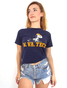 Vintage 70s Destroyed Snoopy West Virginia Tech Tee - Size Small
