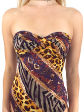 Load image into Gallery viewer, Vintage 80s Strapless Animal Print Swimsuit