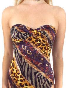 Vintage 80s Strapless Animal Print Swimsuit